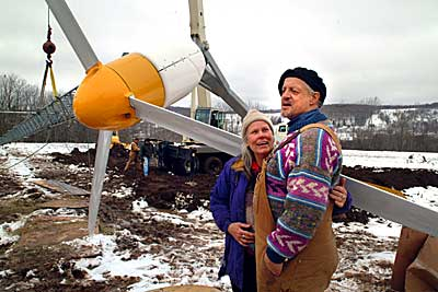Dick and Sonja at erection of their wind turbine